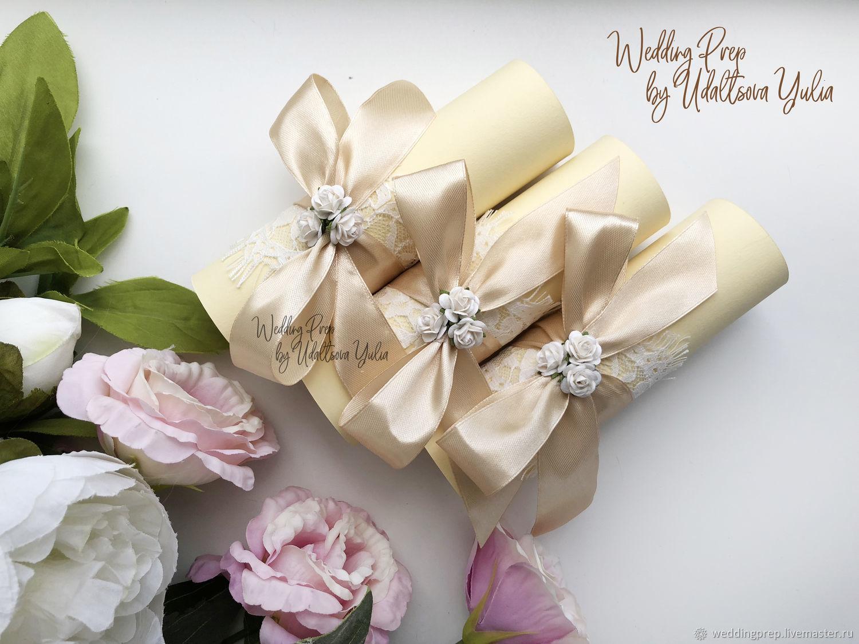 Свадебные приглашения в бежевом цвете, Приглашения, Санкт-Петербург, Фото №1