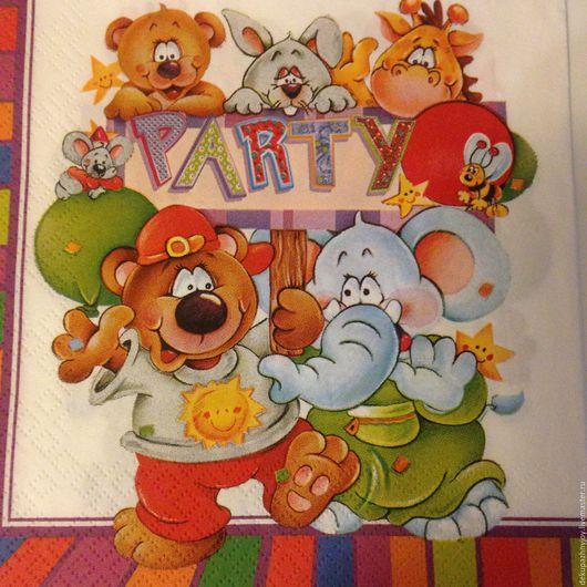 Веселое пати - вечеринка! Слон, мишка, заяц и др. - салфетка для декупажа Декупажная радость