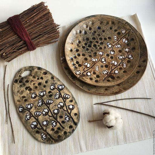 """Тарелки ручной работы. Ярмарка Мастеров - ручная работа. Купить Набор посуды """"Хлопок"""". Handmade. Комбинированный, посуда ручной работы"""