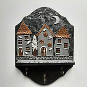 Для дома и интерьера handmade. Livemaster - original item Key holders wall: Housekeeper Night city 10. Wall housekeeper.. Handmade.