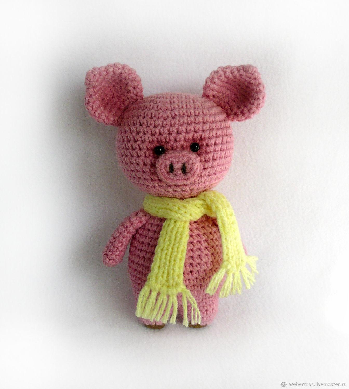 Хрюшка в шарфике вязаная игрушка 12 см, Мягкие игрушки, Нижний Тагил,  Фото №1