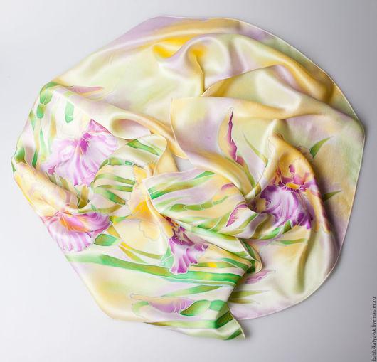 """Шарфы и шарфики ручной работы. Ярмарка Мастеров - ручная работа. Купить Батик шарф """"Нежные ирисы"""". Handmade. Лимонный"""
