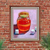 Картины ручной работы. Ярмарка Мастеров - ручная работа Картина пастелью Баночка мёда. Handmade.