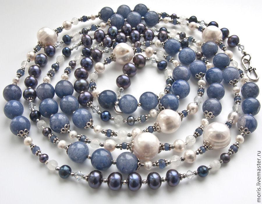 Жемчужный сотуар из серебра и натуральных камней. Сотуар с жемчугом серебром и сапфирами. Колье из серебра и натурального жемчуга сапфиров лунного камня.
