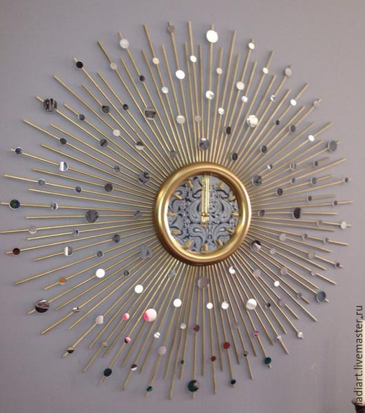 """Часы для дома ручной работы. Ярмарка Мастеров - ручная работа. Купить Настенные часы """"Зазеркалье -90"""". Handmade. Золотой, краска"""