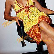 Одежда ручной работы. Ярмарка Мастеров - ручная работа Платье желтое ажурное вязаное крючком. Handmade.