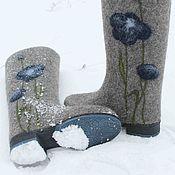 """Обувь ручной работы. Ярмарка Мастеров - ручная работа Валенки """"Синие маки"""". Handmade."""