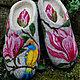 Обувь ручной работы. Ярмарка Мастеров - ручная работа. Купить Тапочки «Магнолия». Handmade. Серый, рисунок шерстью