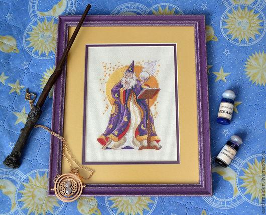 Фэнтези ручной работы. Ярмарка Мастеров - ручная работа. Купить Вышивка крестом Волшебник. Handmade. Тёмно-фиолетовый, фэнтези, магия