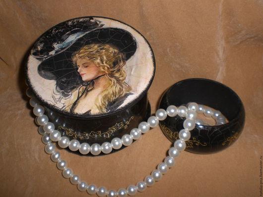 """Шкатулки ручной работы. Ярмарка Мастеров - ручная работа. Купить Шкатулка и браслет """"Дама в шляпе"""". Handmade. Черный, дамские штучки"""