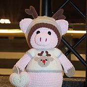Мягкие игрушки ручной работы. Ярмарка Мастеров - ручная работа Рождественский поросёнок. Handmade.