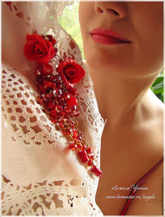 """Серьги ручной работы. Ярмарка Мастеров - ручная работа. Купить Серьги-гроздья """"Алые розы"""". Handmade. Ярко-красные серьги"""