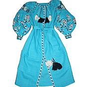 Одежда ручной работы. Ярмарка Мастеров - ручная работа Бирюзовое  Вышитое платье. Льняное бохо платье. Вышиванка. Handmade.