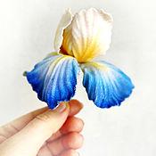 handmade. Livemaster - original item Blue iris velvet brooch