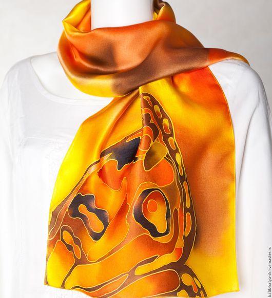 """Шарфы и шарфики ручной работы. Ярмарка Мастеров - ручная работа. Купить Батик шелковый шарф """"Солнечный"""". Handmade. Желтый, Батик"""