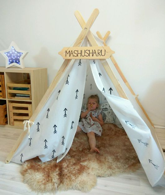 """Детская ручной работы. Ярмарка Мастеров - ручная работа. Купить Палатка """"монохромные стрелы"""". Handmade. Палатка, в наличии, для детей, вигвам"""