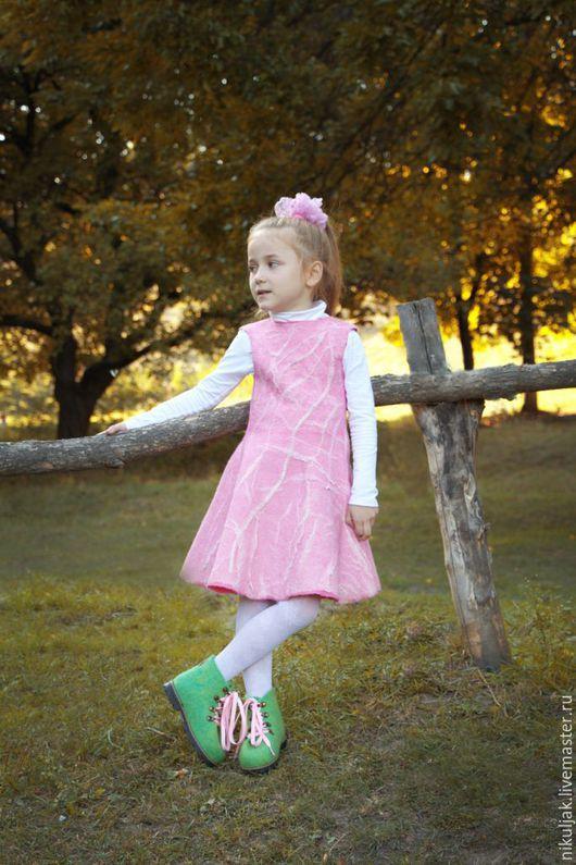 Одежда для девочек, ручной работы. Ярмарка Мастеров - ручная работа. Купить Платье  валяное  Модница. Handmade. Розовый, ручная работа