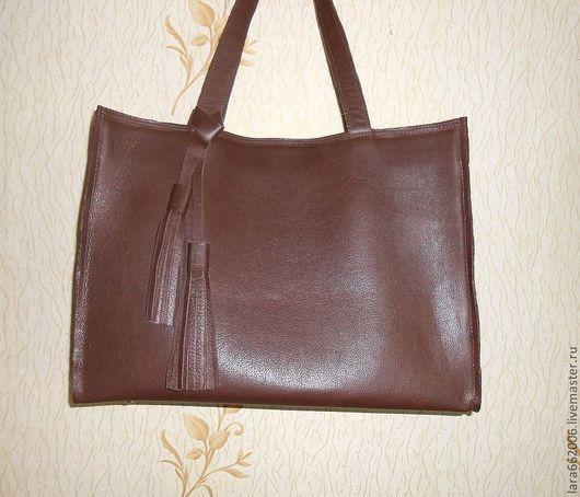 Женские сумки ручной работы. Ярмарка Мастеров - ручная работа. Купить Кожаная сумка-пакет  коричневая. Handmade. Коричневый