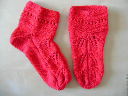 Носки, Чулки ручной работы. Ярмарка Мастеров - ручная работа. Купить ажурные носочки. Handmade. Ярко-красный, носки вязаные