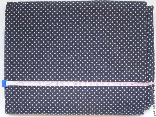"""Шитье ручной работы. Ярмарка Мастеров - ручная работа. Купить Лен """"Синий в горошек"""" (арт.9606) Корея. Handmade. Разноцветный"""