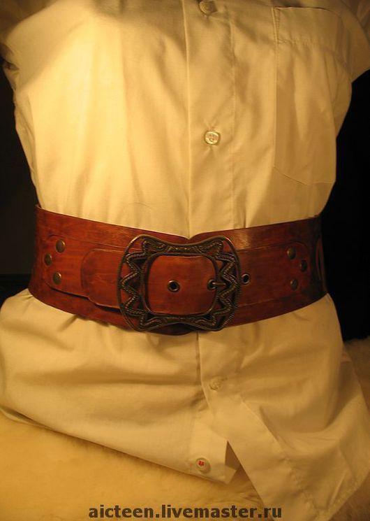 Пояса, ремни ручной работы. Ярмарка Мастеров - ручная работа. Купить Женский кожаный широкий пояс. Handmade. Корсетный пояс