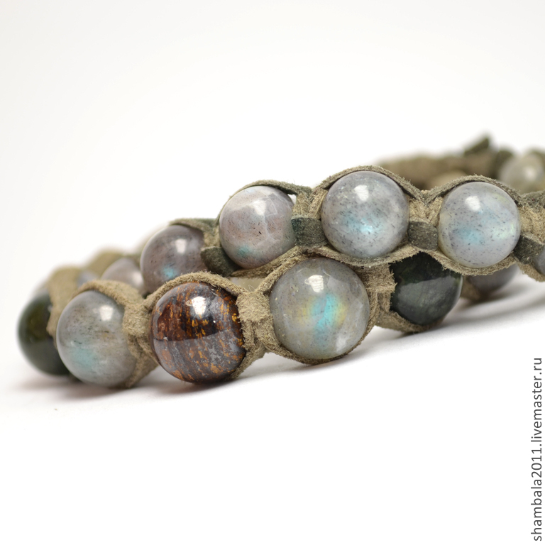 Set Shamballa bracelets with labradorite, jade and Bronzit suede