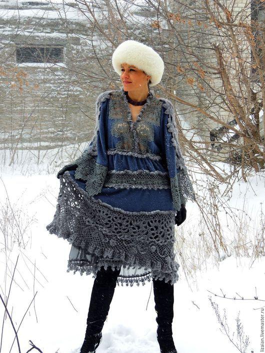 Платья ручной работы. Ярмарка Мастеров - ручная работа. Купить Зимнее БОХО платье (№31). Handmade. Серый, платье из шерсти