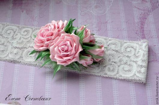 Диадемы, обручи ручной работы. Ярмарка Мастеров - ручная работа. Купить нежная повязочка для малышки. Handmade. Розовый, розы из ткани