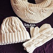 Аксессуары handmade. Livemaster - original item Knitted set Snowy leaves, knitted hat, scarf, mittens Edit page. Handmade.