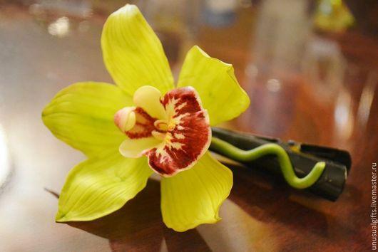 Заколки ручной работы. Ярмарка Мастеров - ручная работа. Купить Заколка Орхидея лимонно-салатовая. Handmade. Салатовый, заколка-зажим