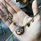 Украшения handmade. Livemaster - original item Owl pendant (pendant with owl pendant owl jewelry owl). Handmade.