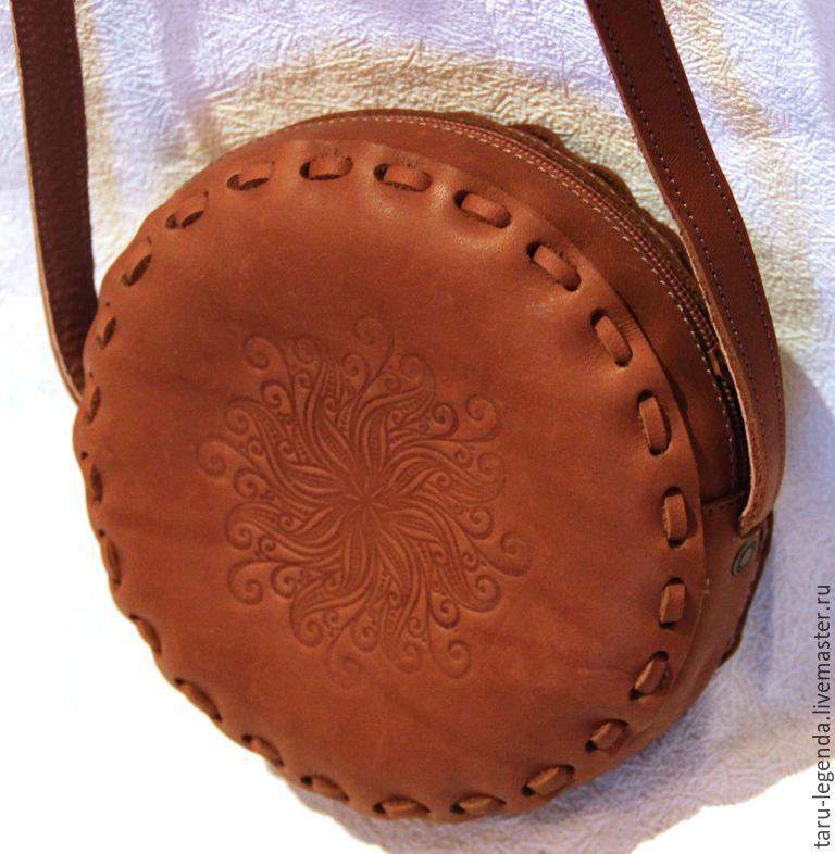Женские сумки ручной работы. Ярмарка Мастеров - ручная работа. Купить Сумка кожаная круглая на молнии - рыжая. Handmade.