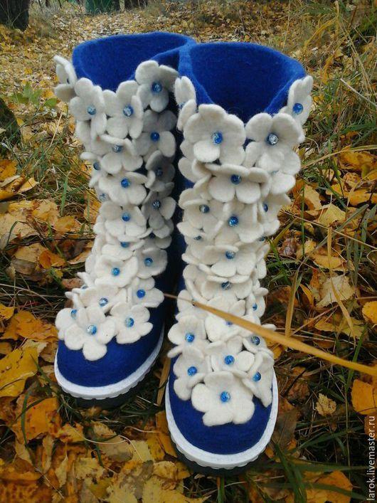 """Обувь ручной работы. Ярмарка Мастеров - ручная работа. Купить Валенки""""Цветочная пена"""". Handmade. Тёмно-синий, валенки на подошве"""