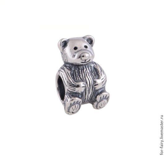 Бусины пандора ручной работы. Ярмарка Мастеров - ручная работа. Купить Бусина из серебра. Handmade. Шарм, медведь, бусина серебряная