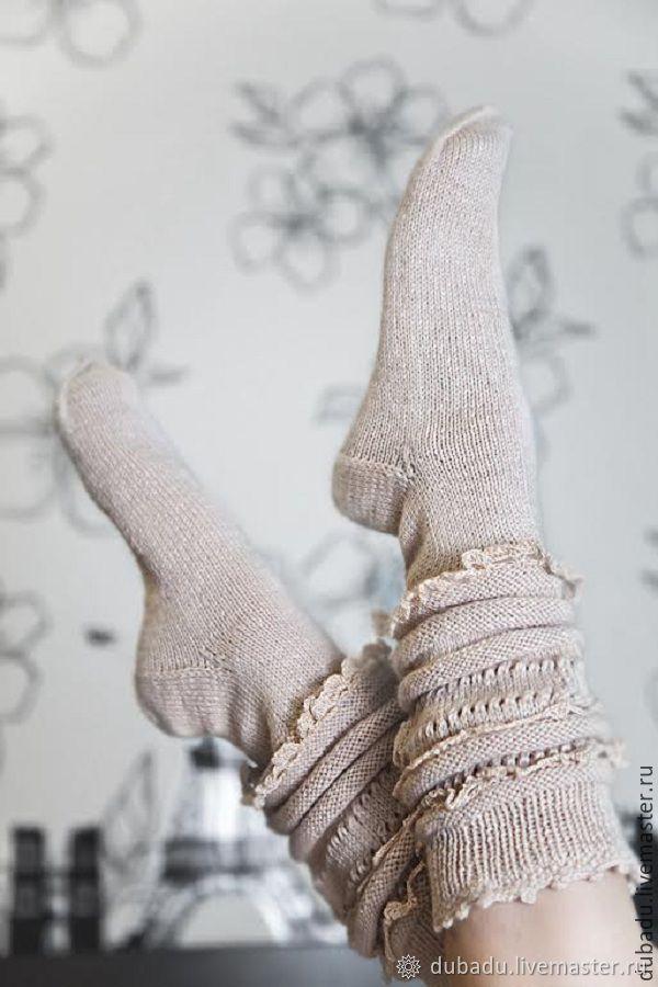 Носки вязаные,с ручным кружевом, Прованс, Носки, Москва, Фото №1