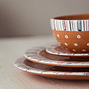 Посуда handmade. Livemaster - original item Plum pudding. A set of three flat plates and bowls, ceramics. Handmade.