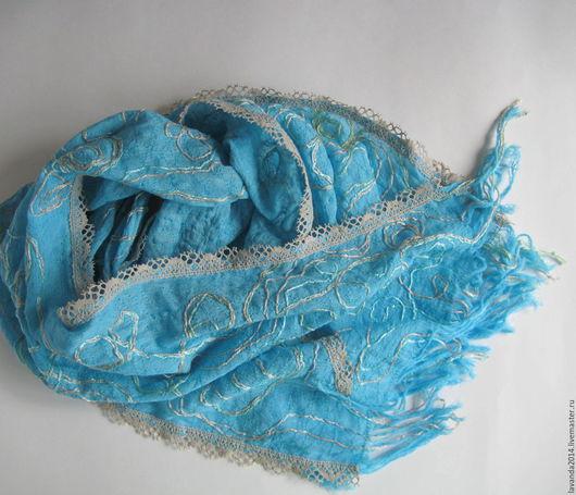 Шарфы и шарфики ручной работы. Ярмарка Мастеров - ручная работа. Купить Летний бирюзовый бохо-шарфик хлопок. Handmade. Бирюзовый