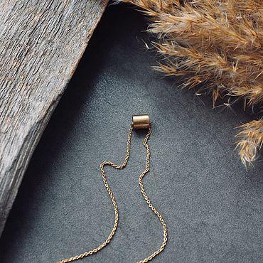 Украшения ручной работы. Ярмарка Мастеров - ручная работа Цепочка на шею с металлическим бочонком. Handmade.