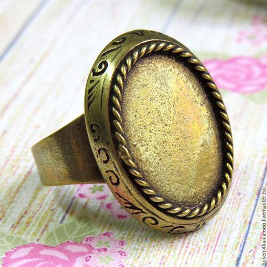 Для украшений ручной работы. Ярмарка Мастеров - ручная работа. Купить Основа для кольца Косичка-этно 13х18мм, античная бронза (1шт). Handmade.
