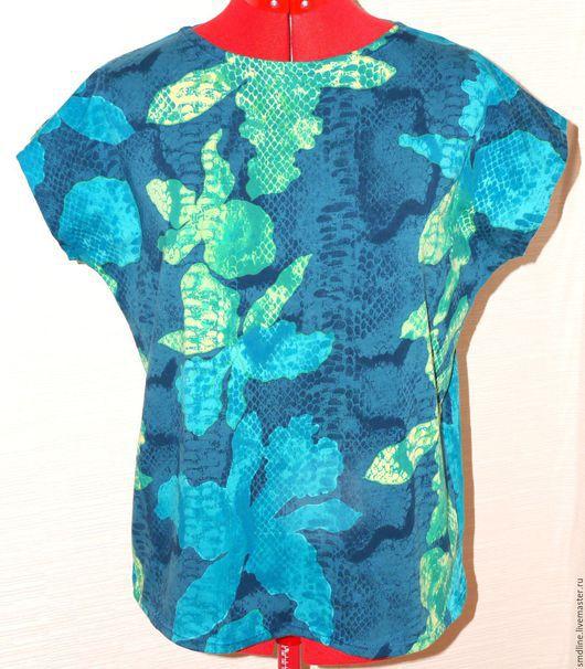 Блузки ручной работы. Ярмарка Мастеров - ручная работа. Купить Блузка из хлопкового трикотажа. Handmade. Разноцветный, футболка цветная