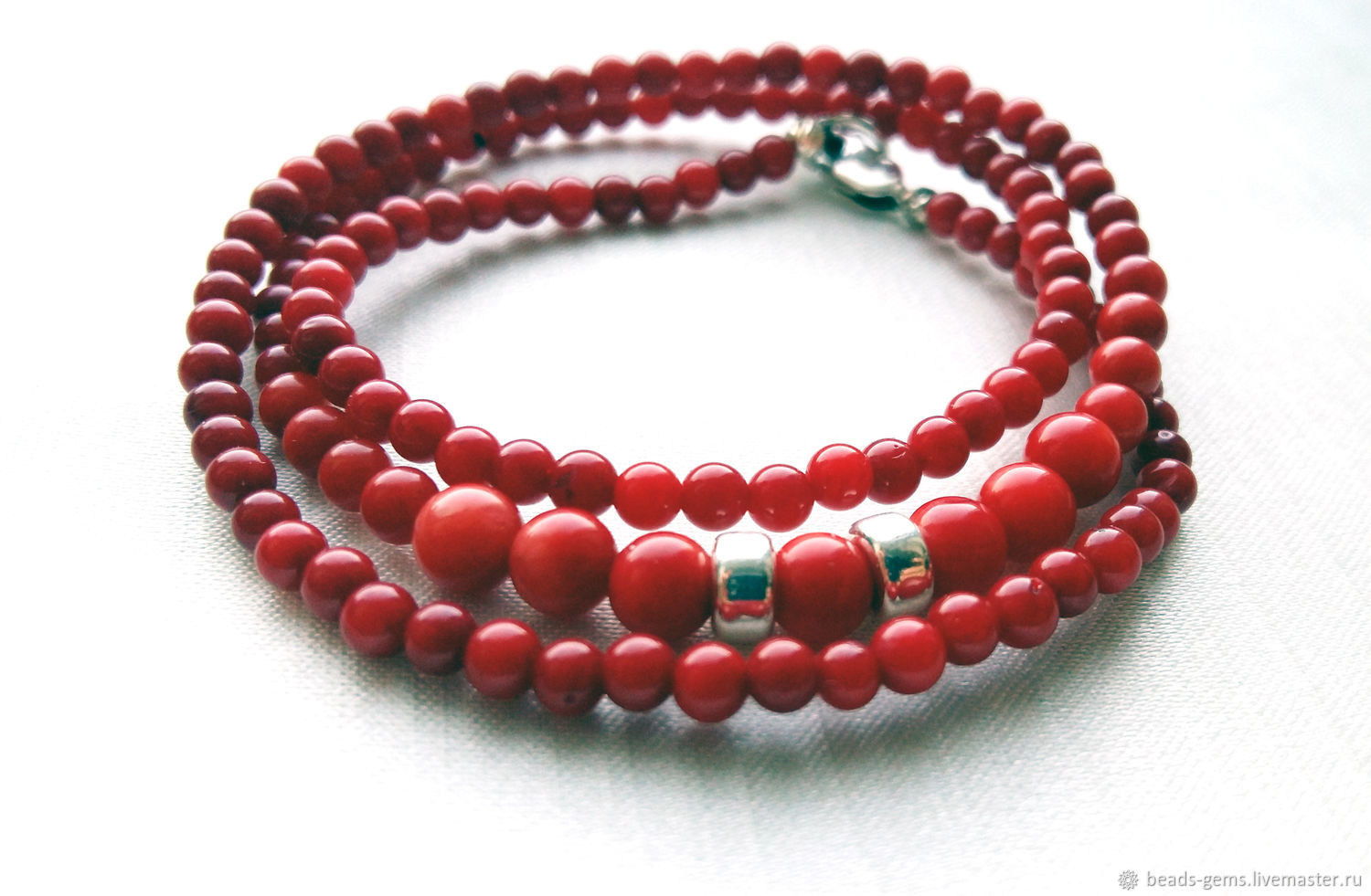 Red Coral Beads, Necklace, Bryansk,  Фото №1