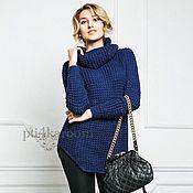 Одежда ручной работы. Ярмарка Мастеров - ручная работа Удлиненный свитер синий. Handmade.
