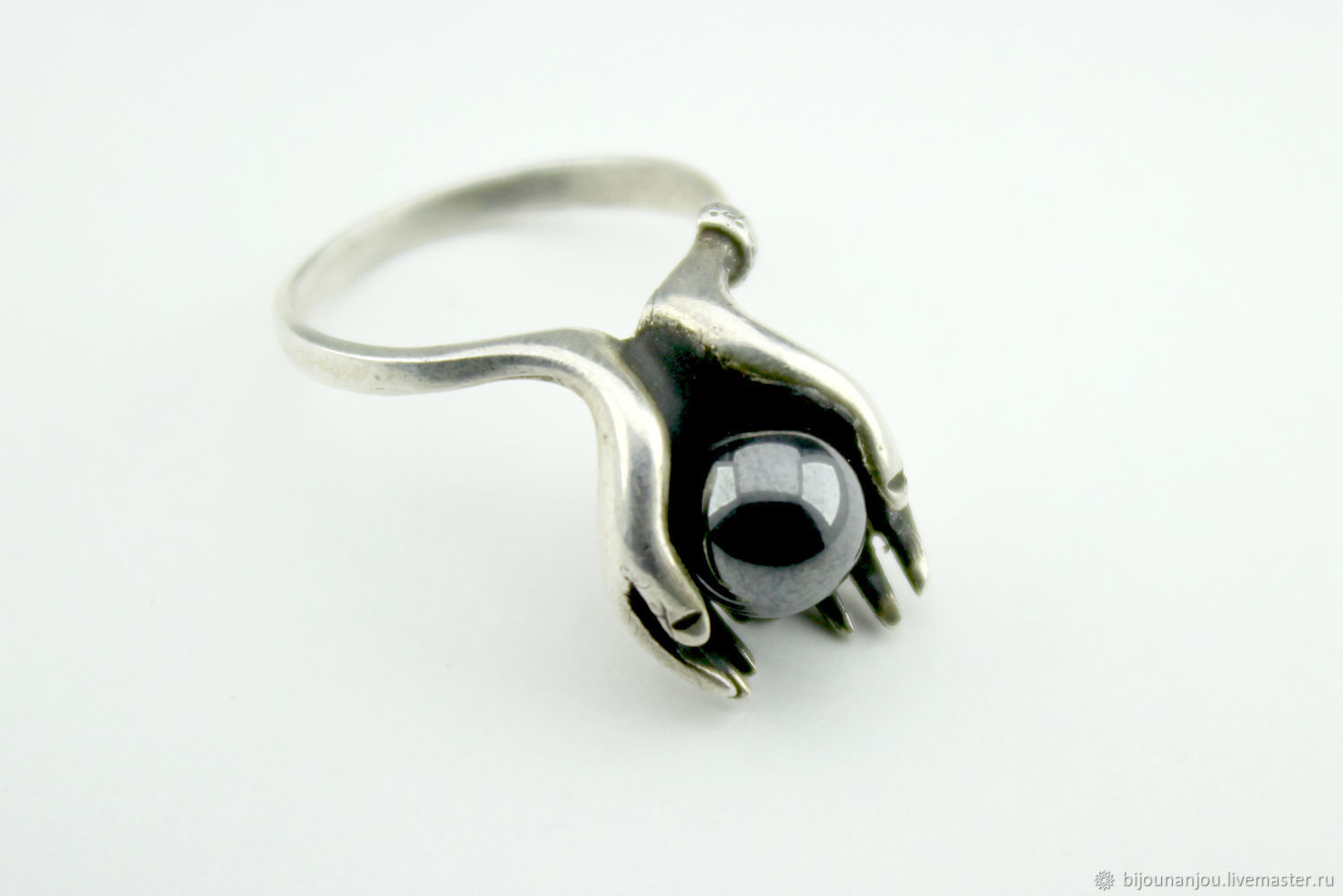 Pearl ring made of 925 sterling silver and black pearls HH0037, Rings, Yerevan,  Фото №1