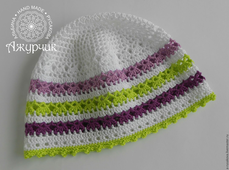 летняя шапочка для девочки вязаная крючком полоска купить в