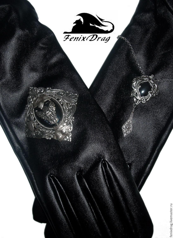 Vintage mens leather gloves -  Long Black Leather Gloves Alissandra Gothic Vintage Men