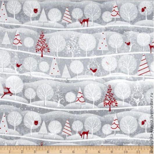 """Шитье ручной работы. Ярмарка Мастеров - ручная работа. Купить Новогодняя ткань фланель""""Холидай фрост олени"""" для тильды, пэчворка. Handmade."""