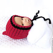 Аксессуары handmade. Livemaster - original item Cap for girls, red knitted cap as a gift for discharge. Handmade.
