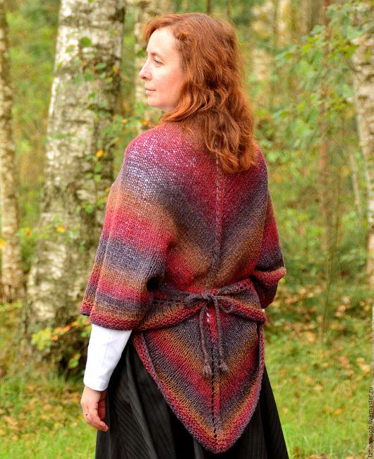 шаль вязаная, шаль датская, шаль спицами, шаль красная, шаль ручной работы купить, вязаная шаль, теплая удобная шаль, красивая вязаная шаль, подарок маме,  подарок женщине, шаль нарядная, накидка,