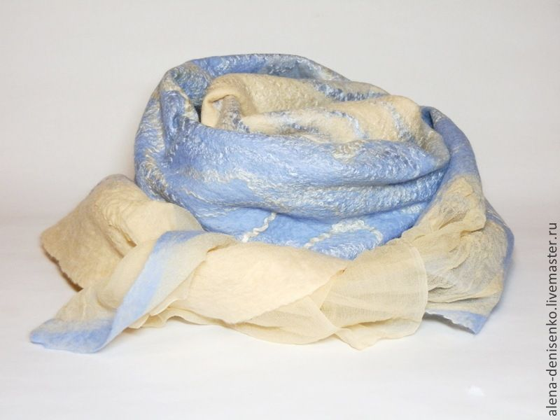 шарф валяный песочно-голубой, Шарфы, Барнаул, Фото №1