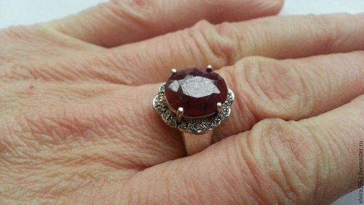 Кольца ручной работы. Ярмарка Мастеров - ручная работа. Купить Кольцо  натуральный природный рубин серебро 925. Handmade. Бордовый